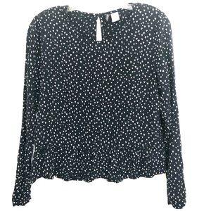 DIVIDED Navy w/ White Heart Print LS Blouse, 8